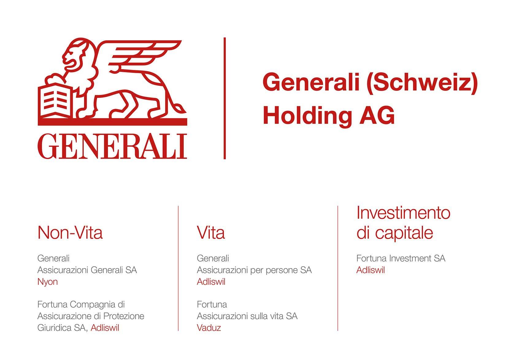 Il Gruppo Generali Svizzera ¨ costituito da varie pagnie di assicurazione Vita e Non vita e da una societ di gestione di fondi